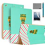 lexy® deja crecer patrón de la PU del caso del soporte del tirón del cuero con protector de pantalla y el stylus para iPad mini 4