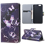Magnetic Leather Stand Case Cover for iPhone 6/6S - Purple butterfly