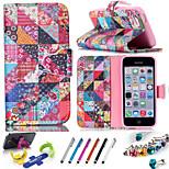geometrisches Muster PU-Leder-Köchertasche beinhaltet stehen Anti-Staub-Stecker Stift, eine Vielzahl der Farbe für iphone 5 / 5s