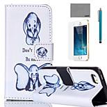 lexy® patrón de elefante pequeño estuche de cuero de la PU de cuerpo completo con protector de pantalla y el stylus para el iphone 5 / 5s