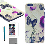 LEXY® Ink Butterfly Pattern Hard PC Back Case with 9H Glass Screen Protector and Stylus for iPhone 6/6S