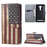 Retro American Flag  Flip Wallet Leather Stand Shell for Asus Zenfone 2 Laser ZE550KL