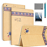 LEXY® Autumn Leaves Pattern PU Leather Flip Stand Case with Screen Protector and Stylus for iPad Air 2/iPad 6