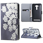 Pretty White Flowers Flip Wallet Leather Stand Shell for Asus Zenfone 2 Laser ZE550KL