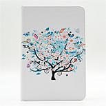 árboles y flores pequeñas patrón pu cuero de la caja de cuerpo completo con soporte y tarjeta de la ranura para el mini ipad 4