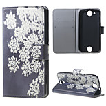 White Flowers Wallet Leather Stand Case for Acer Liquid Jade Z
