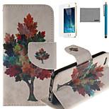 lexy® modello colorato albero pu custodia in pelle corpo pieno, con la protezione dello schermo e lo stilo per iPhone 5 / 5s