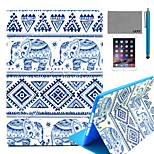 LEXY® Blue Elephant Pattern PU Leather Flip Stand Case with Screen Protector and Stylus for iPad Mini 1/2/3