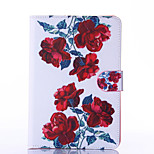 Red Peony Pattern PU Leather Full Body Case with Stand for iPad  Mini 4