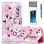 LEXY® Pink Flowers Word Pattern PU Full Body Leather Case with Screen Protector and Stylus for iPhone 5/5S