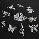 Beadia Antique Silver Metal Charm Pendants Dragonfly Butterfly Bird &Crane DIY Jewelry Pendant
