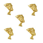 10pcs Egyptian Queen Nefertiti Egypt Theme 3D Gold Nail Art Alloy 7mm x 10mm