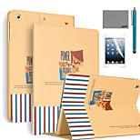 lexy® krachtige patroon pu lederen flip stand geval is met screen protector en stylus voor iPad mini 4