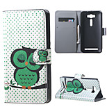 Stand Leather Card Holder Case for Asus Zenfone 2 Laser ZE500KG ZE500KL - Sleeping Owl on the Branch