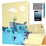 LEXY® Whale Pattern PU Leather Flip Stand Case with Screen Protector and Stylus for iPad Mini 4