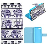 Elephant Design PU Full Body Case with Stand with Card Slot for iPhone 5C