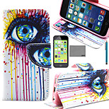 LEXY® Colorful Big Eyes Pattern PU Full Body Leather Case with Screen Protector and Stylus for iPhone 5C