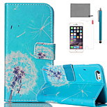 LEXY® Blue Bottom Dandelion Pattern PU Full Body Leather Case with Screen Protector and Stylus for iPhone 6/6S