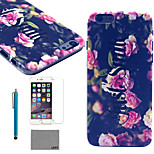 LEXY® Pink Flower Bush Pattern Hard PC Back Case with 9H Glass Screen Protector and Stylus for iPhone 5/5S