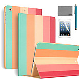LEXY® Colorful Strip Pattern PU Leather Flip Stand Case with Screen Protector and Stylus for iPad Mini 4