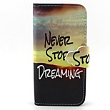 Never Stop Pattern PU Leather Full Body Case with Card Slot and Stand for iPhone 5/5S
