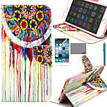 LEXY® Painting Flower Tribal Pattern PU Full Body Leather Case with Screen Protector and Stylus for iPhone 6/6S