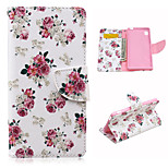 Beautiful Flowers Pattern PU Leather Case Cover with Stand and Card Holder for Sony Xperia M4