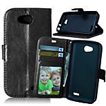 de lujo de la PU del tirón cartera de cuero con marco de fotos ranura para tarjetas se destacan la cubierta para lg l90