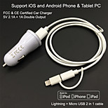 FCC CE certified Car Charger 1A/2.1A Double output+Apple MFi Certified Lightning +Micro USB cable For iPhone 6S iPhone 5