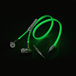 Glow In The Dark Zipper Earphones Earbuds Headphones Headsets with Universal 3.5mm Stereo Jack & Mic for Cell Phones