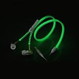 brillar en la oscuridad de la cremallera auriculares auriculares auriculares auriculares con jack estéreo de 3,5 mm