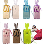 Rabbit Ears Stand Holder Soft TPU Skin Transparent Back Cover Case for iPhone 5/5S