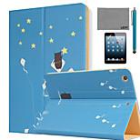 lexy® estrellas del verano patrón pu cuero del tirón del caso del soporte con protector de pantalla y el stylus para iPad mini 4