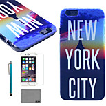 LEXY® New York Nights Pattern Hard PC Back Case with 9H Glass Screen Protector and Stylus for iPhone 5/5S