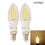 YouOKLight® 2PCS New Approvel E14 4xCOB 4W 400LM Warm White Edison Candle Bulbs LED Filament chandelier Light(AC85-265V)