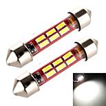 yobo 3W 240lm feston 39mm 6 * 4014 lumière blanche de manchon de tuyau pour ampoule voiture de direction / liseuse (2 pcs / DC 12-24)
