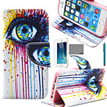LEXY® Colorful Big Eyes Pattern PU Full Body Leather Case with Screen Protector and Stylus for iPhone 5/5S