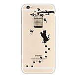 Cat Catch Apple Logo Cage Pattern TPU Soft Case for iPhone 6/6S