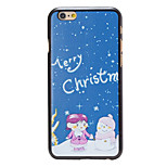 Christmas Style Kids and Snowman Pattern PC Hard Back Cover for iPhone 6