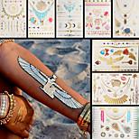 8PCS Necklace Elephant Sheep Dreamcatcher Crown Waterproof Women Gold Temporary Tattoo Stickers Braclet