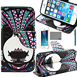 LEXY® Panda Tribal Pattern PU Full Body Leather Case with Screen Protector and Stylus for iPhone 5/5S