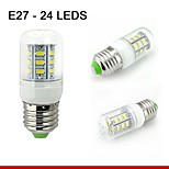 1 pcs E26/E27 5W 24SMD5730 400LM Warm White / Natural White Decorative Corn Bulbs 110V/220V