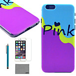 LEXY® Hit Color Painting Pattern Hard PC Back Case with 9H Glass Screen Protector and Stylus for iPhone 6/6S