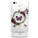 Butterfly Pattern TPU Relief Back Cover Case for P8 Lite
