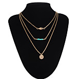 Devil Eye Pendant Multilayer Three Chain Necklace