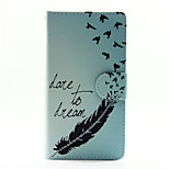 Blue Feather with Swallow PU Leather Full Body Case with Stand for Huawei Ascend P8 Lite