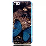 Blue Butterfly Pattern Blu-Ray TPU Material Phone Case for iPhone 5C
