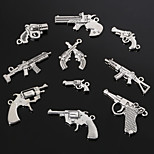 Beadia Metal Charm Pendants Antique Silver Handgun Shape Bracelet Charms