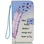 Feather Pattern PU Material Card Lanyard Case for iPhone 6/6S