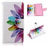 Sunflower Pattern PU Leather Case Cover with Stand and Card Holder for Sony Xperia M4